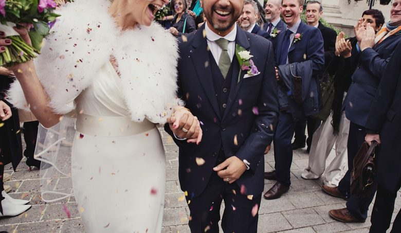 Fun confetti wedding portrait London