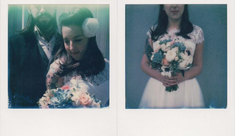 Alternative polaroid wedding photography with bridal bouquet Brighton Pavilion Wedding