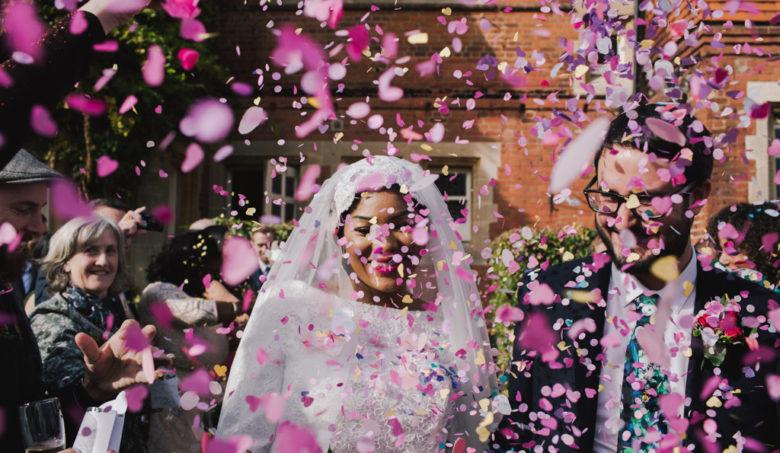 Pink confetti at London Town Hall Wedding   Lisa Jane Photography   Modern London Wedding Photography
