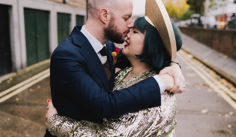 bride and groom embracing at south london wedding